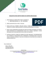 REQUISITOS PARA ORDEN DE COMPRA