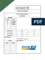 SEF163R019-P-LT-ET-002_0 Especificación técnica aisladores