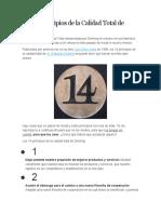 Los 14 Principios de la Calidad Total de Deming