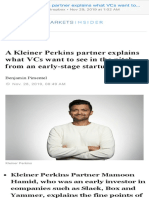 A Kleiner Perkins partner explains what VCs want to see in the pitch from an early-stage startup  Markets Insider
