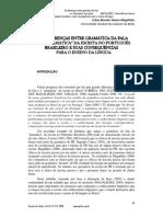 As diferenças entre gramatica da fala e a gramatica da escrita no portugues brasileiro e suas consequencias para o ensino da lingua