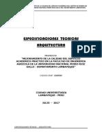 FIA ARQUITECTURA - ESPECIFICACIONES TECNICAS
