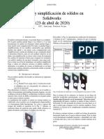 Corazas y simplificación de sólidos en Solidworks