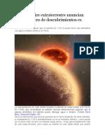 Signos de aire extraterrestre anuncian una nueva era de descubrimientos ex planetarios