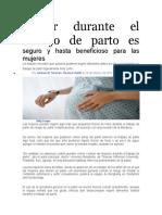 Comer durante el trabajo de parto es seguro y hasta beneficioso para las mujeres