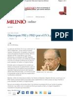 31-01-11 Discrepan PRI y PRD por el IVA general