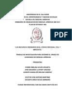 Los Recursos Ordinarios en el Código Procesal Civil y Mercantil