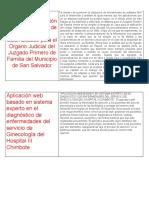 Diseño y elaboración e implementación de un sistema automatizado para el Organo Judicial del Juzgado Primero de Familia del Municipio de San Salvador