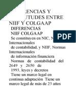 DIFERENCIAS Y SIMILUTUDES ENTRE NIIF Y COLGAAP NOHEMI GALVIS SANCHEZ