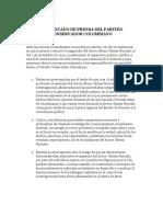 201006-PConservador-Comunicado Prensa JEP y Magnicidio Alvaro Gómez Hurtado