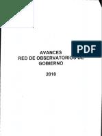 Avances Red de Observatorios de Gobierno (a Diciembre 2010)