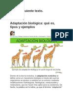 Lectura Actividad IV  Adaptación biológica Viernes 2 de Octubre