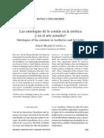 Las Ontologias de Lo Comun en La Estetica y en El Arte Actuales