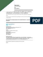 O processo de construção da política de saúde do trabalhador no Brasil para o setor público