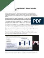 Perkembangan Program PEN Hingga Agustus 2020