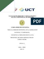 EL DERECHO MUNICIPAL EN LA LEGISLACION NACIONAL Y COMPARADA