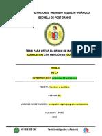 PLANTILLA DE INFORME DE TESIS DE MAESTRÍA-UNHEVAL (ENFOQUE CUANTITATIVO)