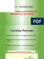 History & direction of Managerial Acctg
