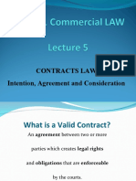 Week 5 Contracts Law - Introduction - Intention - Agreement - Consideration