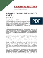 DCTF de empresas INATIVAS
