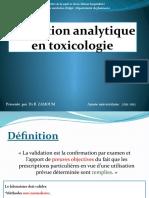 Validation Analytique en Toxicologie Par Dr ZAMOUM