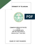 Telangana Schedule of Rates Yr 2020-21