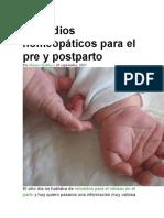 Remedios homeopáticos para el pre y postparto