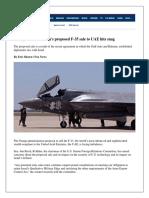 UAE F-35 Deal Blocked   UAE F-35 Deal Cancel   Trump F-35 deal with UAE Cancel