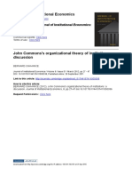 John Commons's organizational theory of institutions, a discussion
