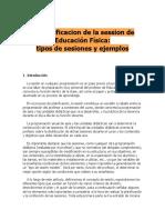 La planificacion de la session de Educación Física