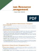 Human Resource Management UNIT 1 PPT