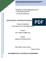 REPORTE DE LECTURA SACRAMENTO DE LA UNCION DE LOS ENFERMOS