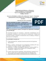 Guía de actividades y rúbrica de evaluación - Fase 2 - Formular planteamiento del problema de investigación en ciencias sociales
