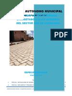 Especificaciones Tecnicas Enlosetado zona Sur Achacachi
