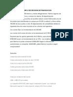 EJEMPLO DE DECISION DE FINANCIACION