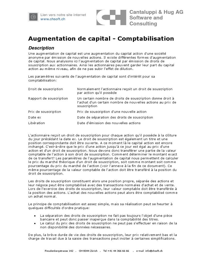 Augmentation De Capital Comptabilisation Description Action Finance Ubs