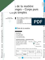 Mélanges - Corps purs Corps simples