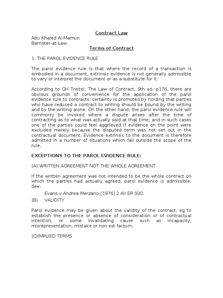 Terms Exclusion Clause Contractual Term Parol Evidence Rule