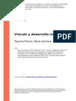Pigurina Muscio, Maria Veronica (2011). Vinculo y Desarrollo Infantil