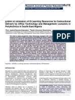 Extent of Utilization of E-Learning Resources for Instructional Delivery by Office Technology and Management Lecturers in Polytechnics in South-East Nigeria