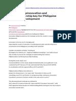 Inclusive Filipinnovation and Entrepreneurship key for Philippine economic development