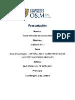 Guía de Actividades  - NATURALEZA Y CARACTERISTICA DE LA INVESTIGACION DE MERCADO