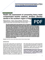 Health risk assessment of consuming heavy metal contaminated benthic seafood, Anadara (Senilia) senilis in the southern region of Nigeria.