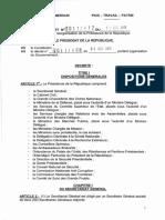 Décret N°2011412 du 09 décembre 2011 portant réorganisation de la Présidence de la République