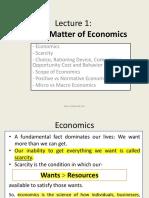 L-1 Subject Matter of Economics