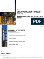 CHE4170 Special Topic A brief Disucssion on Crystalliser Design