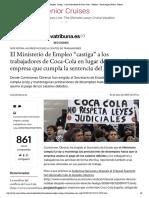 """El Ministerio de Empleo """"castiga"""" a los trabajadores de Coca-Cola - Sindical - Diario digital Nueva Tribuna"""