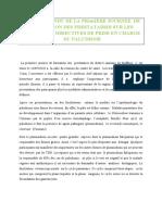 CONTE RENDU DE LA PRIERE JOURNEE  DE FORMATION DES INFIRMIER CHEF DE POSTE SUR LA PRISE EN CHARGE DU PALUDISME