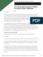 Comprehensive Test Ban Treaty (CTBT)_ Definition, Provision and Criticism