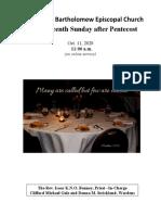 Pentecost 19 Oct 11, 2020